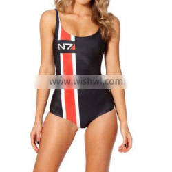 2013 New SEXY Women MASS EFFECT N7 SWIMSUIT One Piece Digital Print Backless Wetsuit S125-33
