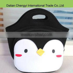 New fabric factory price cute penguin insulated neoprene lunch tote bag