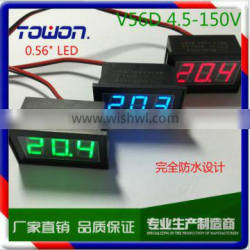 """0.56"""" Green Red Blue LED Waterproof Monitor DC4.5-150V Two Wire Digital Voltmeter for ElectricCar"""