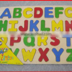 plywood English alphabet jigsaw puzzle learning toy for children