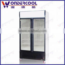 480L soft drink commercial used upright 2 door display refrigerator