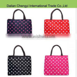 Popular waterproof nylon multicolor dot printed lunch bag for office