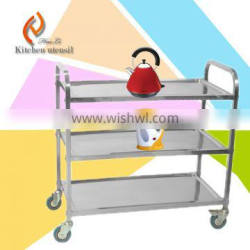 Three tiers CE approved new style factory price commercial stainless steel kitchen food trolley with wheels