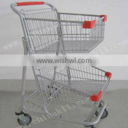 Two-baskets Canada style Supermarket Shopping trolley cart