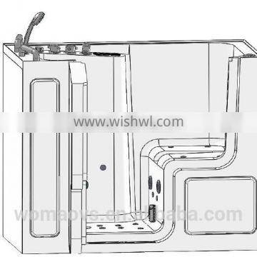2015 new invention whirlpool massage walk in bathtub with large door for disabled people Q358