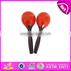 2017 Handmade toy percussion instrument wooden baby maracas for sale W07I059