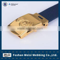 Newest navy colour canvas belt with golden relief buckle for Malaysia Naval Force