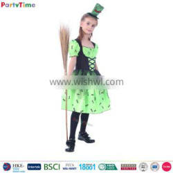 wholesale kids carnival party halloween costume ideas girls witch green costumes with mini hat girls halloween witch costume