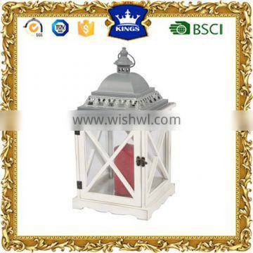 High quality LED candle wooden lantern with grey metal top