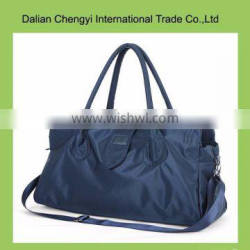 Low toxic solid color polyester tote travel bag with two straps