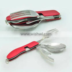 3pcs stainless steel folding camping cutlery set,picnic cutlery set
