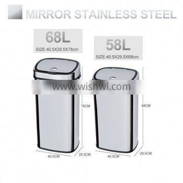 8 10 13 Gallon Infrared Touchless Dustbin Stainless Steel Waste bin stainless steel outdoor street trash can SD-007