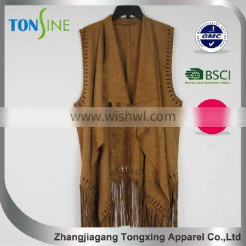 sleeveless suede fringed vest for woman