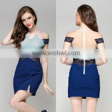 new arrival latest custom fashion lady girl evening party wear western dress sexy bodycon bandage lace dressed for summer