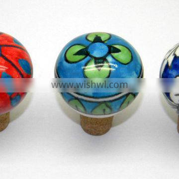 Handpainted Ceramic Bottle Stopper with Cork attachment