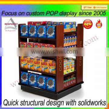 supermarket custom cookies display stand made from wood MDF