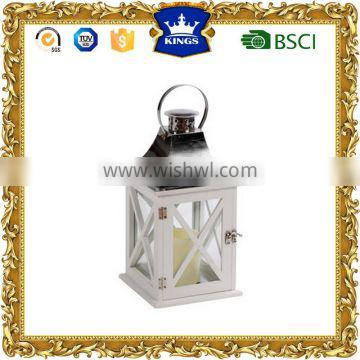 Hot sale Stainless steel wood lantern supplier with LED candle