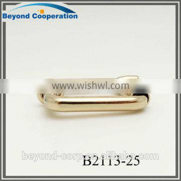 25mm shiny gold finish square demension fancy roller pin buckle for handbag