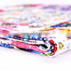 Indian Latest Floral Handmade Bed cover Ethnic Kantha Patchwork Quilt Hand Quilted Twin size Quilt Throw Blanket