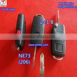 Tongda TD-PEU040, Modified 2+1button Flip Car Key For 206 207 Remote Key Blank Case For Repair Replacement for Peugeot/Citiron