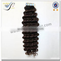 New products natural black color deep curly tapein hair extensions 100% brazilian virgin human hair