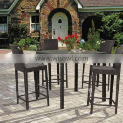 sunshine patio wicker rattan coaster Bar stools and bar table set for commercial