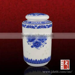Blue and white porcelain excellent quality ceramic metro jar for green tea