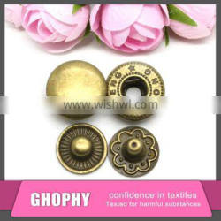Metal button for jeans and coated/custom
