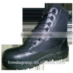 police shoes army shoes with steel toe plate for construction worker safety ce345 pu rubber leather FT-2120B-M