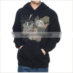 Custom Your Print Design Black Pull Over Mens Hoodie With Hoods