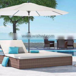 Wicker Rattan Outdoor Furniture Double Sun Lounger - Rattan Chaise Lounge