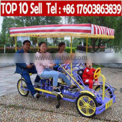 China carbon road 4 seater sightseeing 4 person 4 wheel Quadricycle Bike for sale