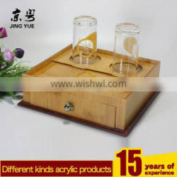 KTV Hotel Supplies Acrylic Storage Box/Plastic Organizer Box With Cup Holder And Drawer