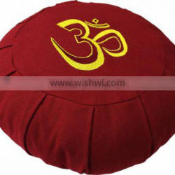Round & pleated Meditation cushion with ohm embroidery