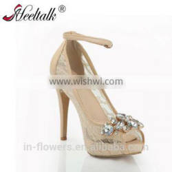 Wholesale lace material with rhinestone wedding shoes with ankle strap dress shoes