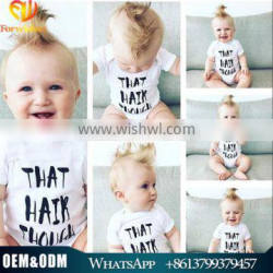 high quality 100% cotton cute baby bodysuit white baby romper toddlers romper suit