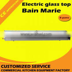 Commercial food warmer electric 8 tanks glass top bain marie with CE