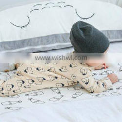 Wholesale new born snap buttons small house printed cotton jumpsuit