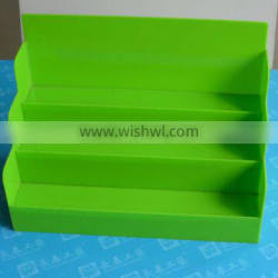 Custom 3 tiers green acrylic display stand for commdity display with unique design made in China OEM factory