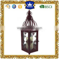 Spring red metal candle lantern with LED candle for gareden decor