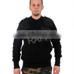 Army Black Wool Acrylic Sweater With Epaulette