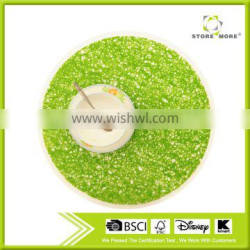 15 inch Round PE Place Mat In Green - Set of 12