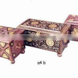 Wood carved brassinlay large size chest box