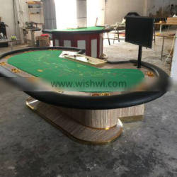 Casino Wooden PU Armrest Baccarat Table with LCD Screen