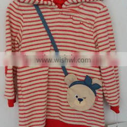 baby girls white and rend stripes knit coat with cap for winter
