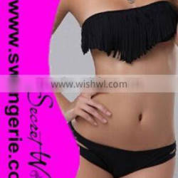 Pure Color Fringed Tassels Bikini with Hollow-Out Panty NA102-black