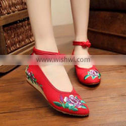 Women Casual Shoes Ankle Strap Pointed Toe Chinese Style Flower Embroidered Ladies Cotton Walking Flats Oxford Sole No logos