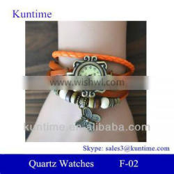 Butterfly design Traditional classic style details quartz watches with leather strap, bronzed watch case