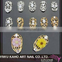 HOT Sell! fashional Nail Tips Diamond designed Hollow nail tips rings for women