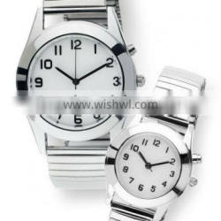 Best Back light pair couple watch for old people Adjustable steel spring band pair wrist watch